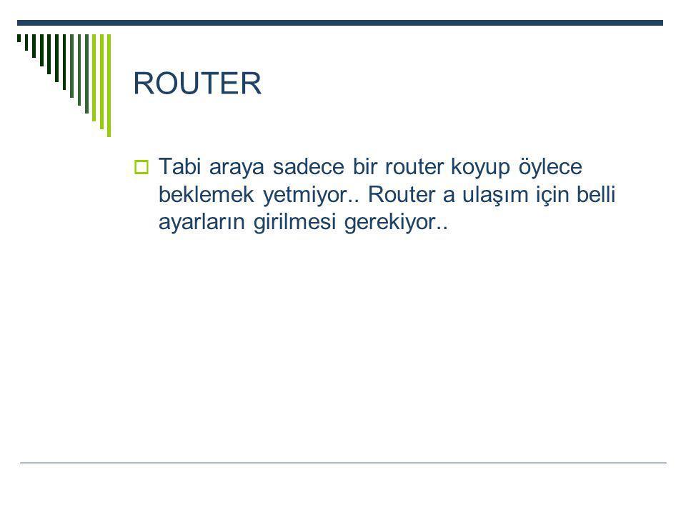 ROUTER Tabi araya sadece bir router koyup öylece beklemek yetmiyor..