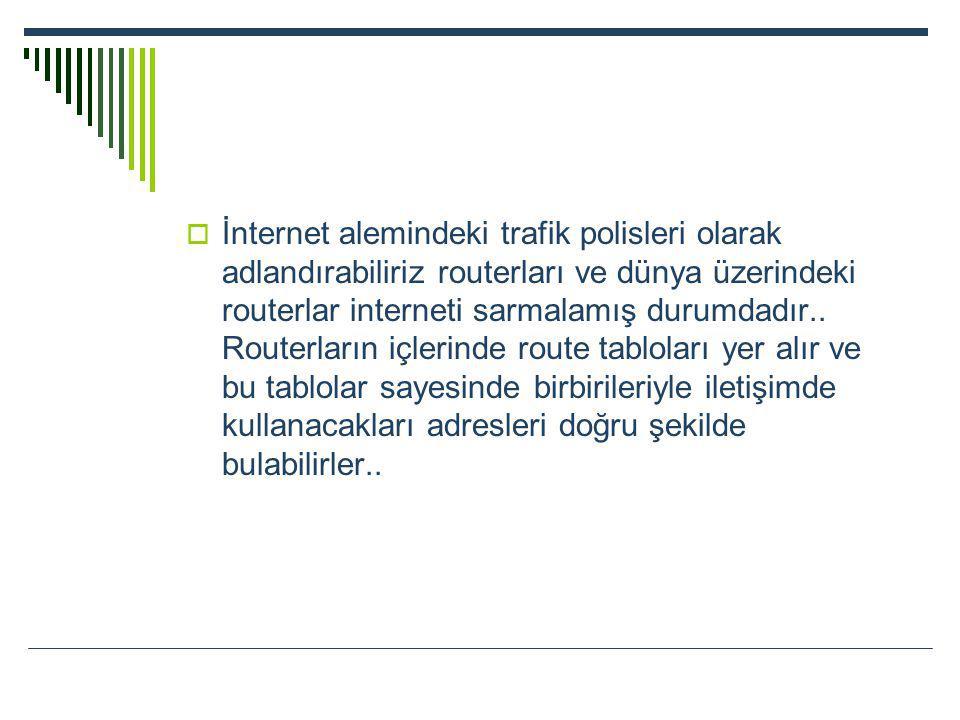 İnternet alemindeki trafik polisleri olarak adlandırabiliriz routerları ve dünya üzerindeki routerlar interneti sarmalamış durumdadır..