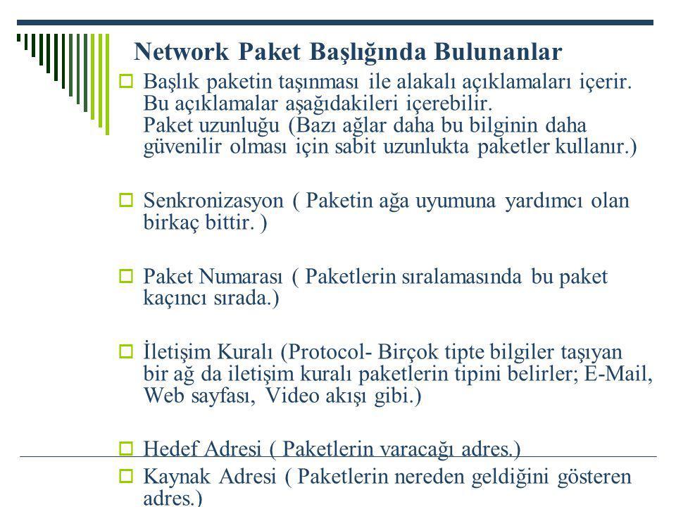 Network Paket Başlığında Bulunanlar