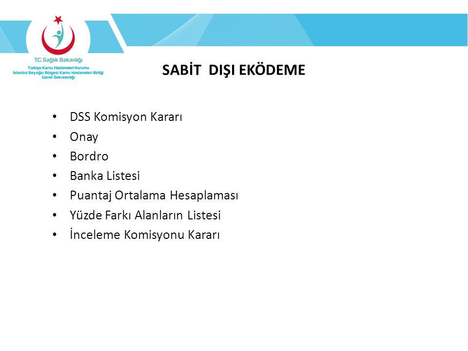 SABİT DIŞI EKÖDEME DSS Komisyon Kararı Onay Bordro Banka Listesi