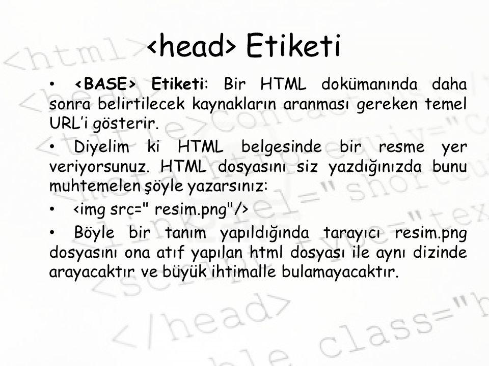 <head> Etiketi <BASE> Etiketi: Bir HTML dokümanında daha sonra belirtilecek kaynakların aranması gereken temel URL'i gösterir.