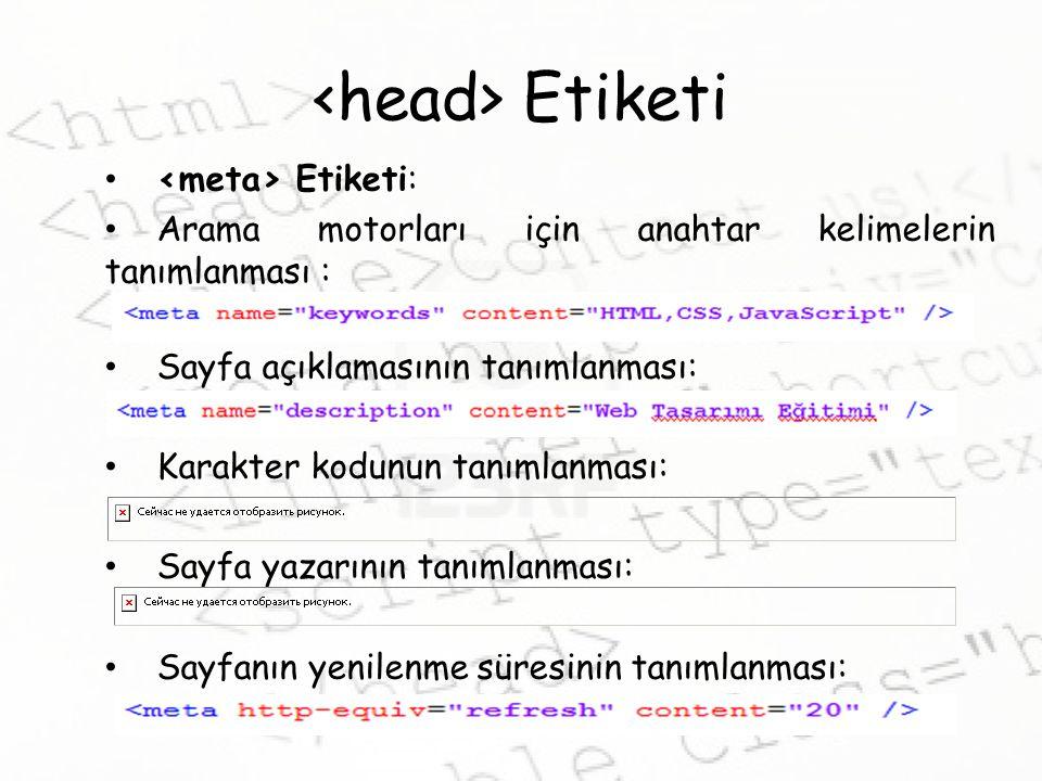 <head> Etiketi <meta> Etiketi: