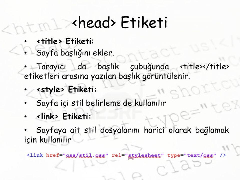 <head> Etiketi <title> Etiketi: Sayfa başlığını ekler.