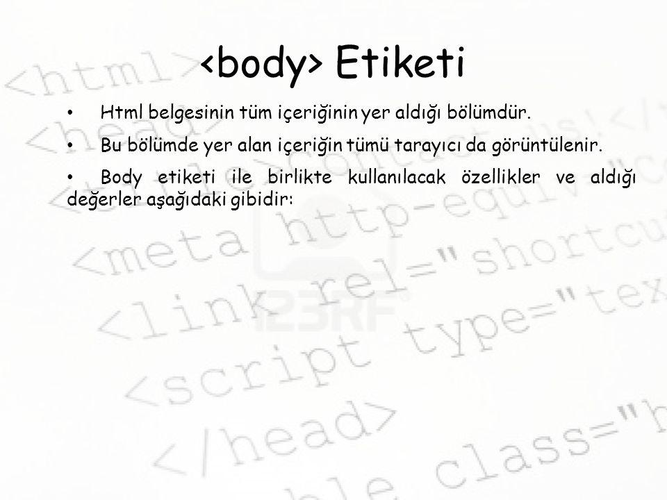 <body> Etiketi Html belgesinin tüm içeriğinin yer aldığı bölümdür. Bu bölümde yer alan içeriğin tümü tarayıcı da görüntülenir.