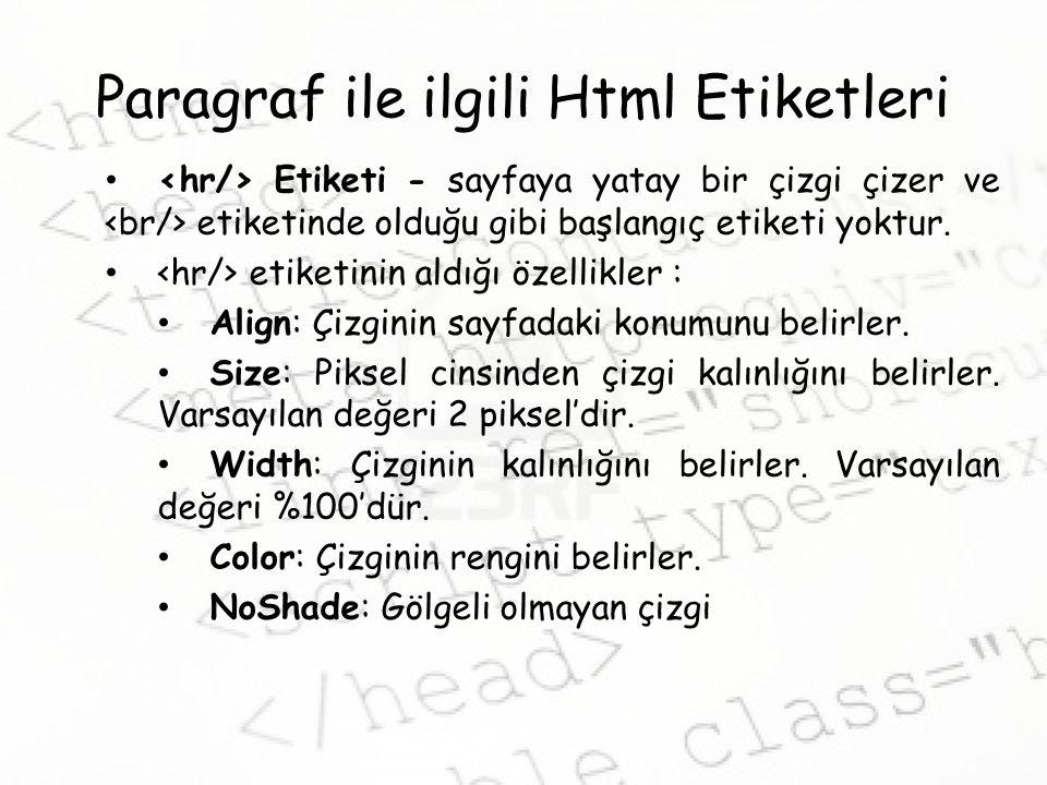 Paragraf ile ilgili Html Etiketleri