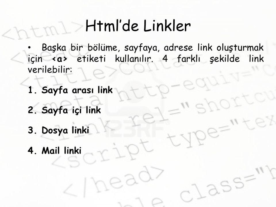 Html'de Linkler Başka bir bölüme, sayfaya, adrese link oluşturmak için <a> etiketi kullanılır. 4 farklı şekilde link verilebilir: