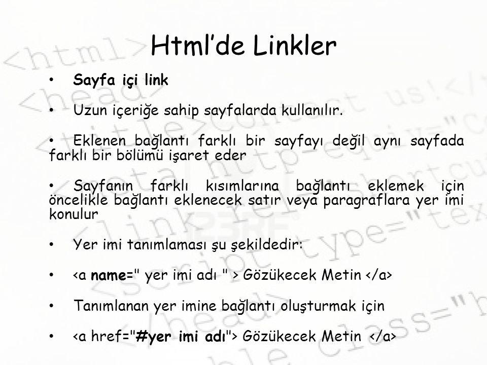 Html'de Linkler Sayfa içi link