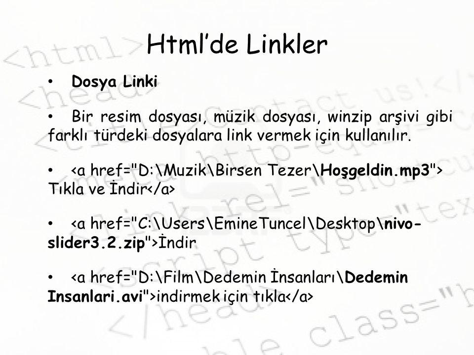 Html'de Linkler Dosya Linki