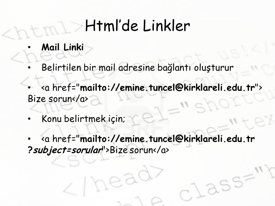 Html'de Linkler Mail Linki