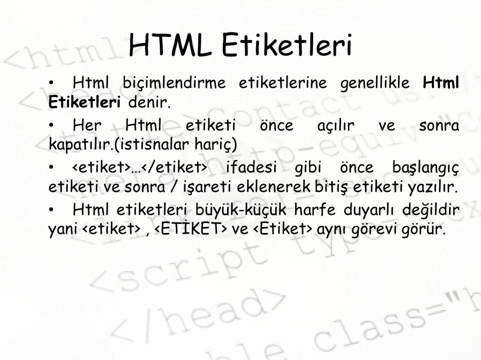 HTML Etiketleri Html biçimlendirme etiketlerine genellikle Html Etiketleri denir. Her Html etiketi önce açılır ve sonra kapatılır.(istisnalar hariç)