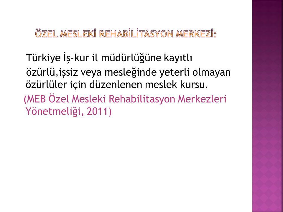 Özel Meslekİ RehabİlİtasyoN Merkezİ: