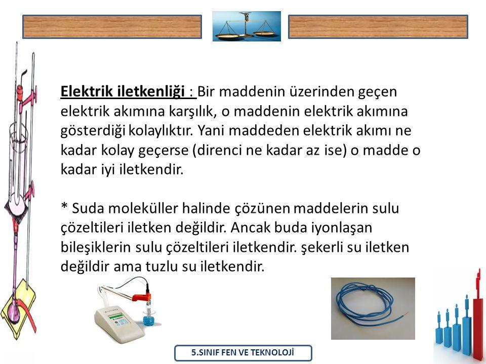 Elektrik iletkenliği : Bir maddenin üzerinden geçen elektrik akımına karşılık, o maddenin elektrik akımına gösterdiği kolaylıktır.