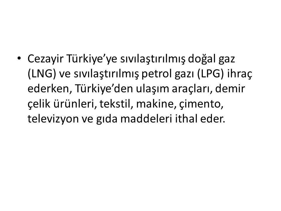 Cezayir Türkiye'ye sıvılaştırılmış doğal gaz (LNG) ve sıvılaştırılmış petrol gazı (LPG) ihraç ederken, Türkiye'den ulaşım araçları, demir çelik ürünleri, tekstil, makine, çimento, televizyon ve gıda maddeleri ithal eder.