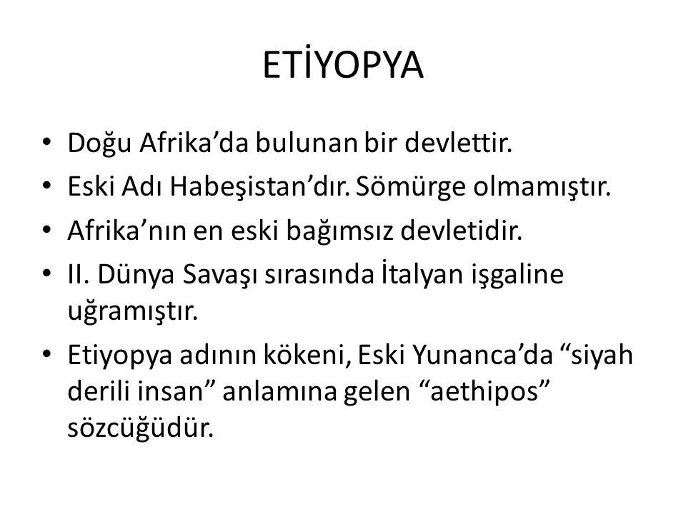 ETİYOPYA Doğu Afrika'da bulunan bir devlettir.