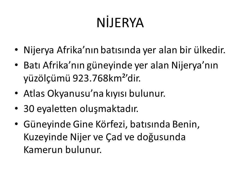 NİJERYA Nijerya Afrika'nın batısında yer alan bir ülkedir.