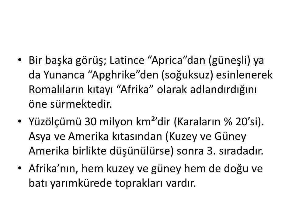 Bir başka görüş; Latince Aprica dan (güneşli) ya da Yunanca Apghrike den (soğuksuz) esinlenerek Romalıların kıtayı Afrika olarak adlandırdığını öne sürmektedir.