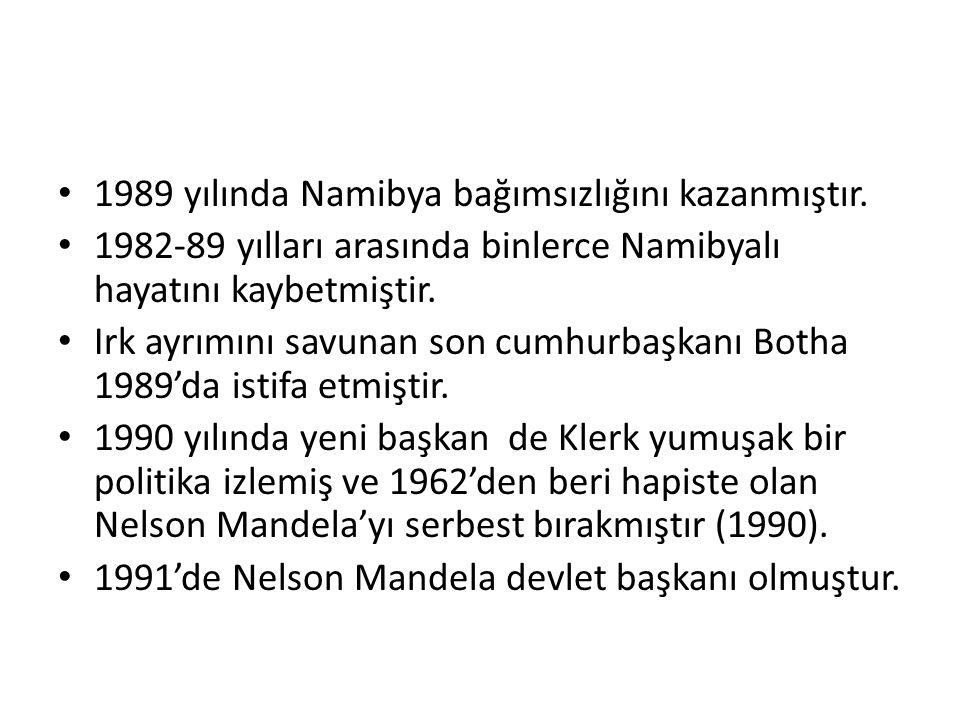 1989 yılında Namibya bağımsızlığını kazanmıştır.