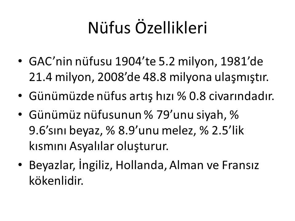 Nüfus Özellikleri GAC'nin nüfusu 1904'te 5.2 milyon, 1981'de 21.4 milyon, 2008'de 48.8 milyona ulaşmıştır.