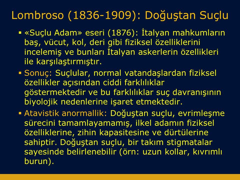 Lombroso (1836-1909): Doğuştan Suçlu