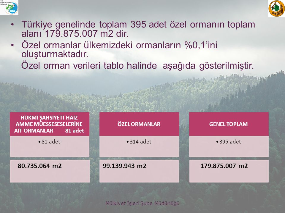 HÜKMİ ŞAHSİYETİ HAİZ AMME MÜESSESESELERİNE AİT ORMANLAR 81 adet