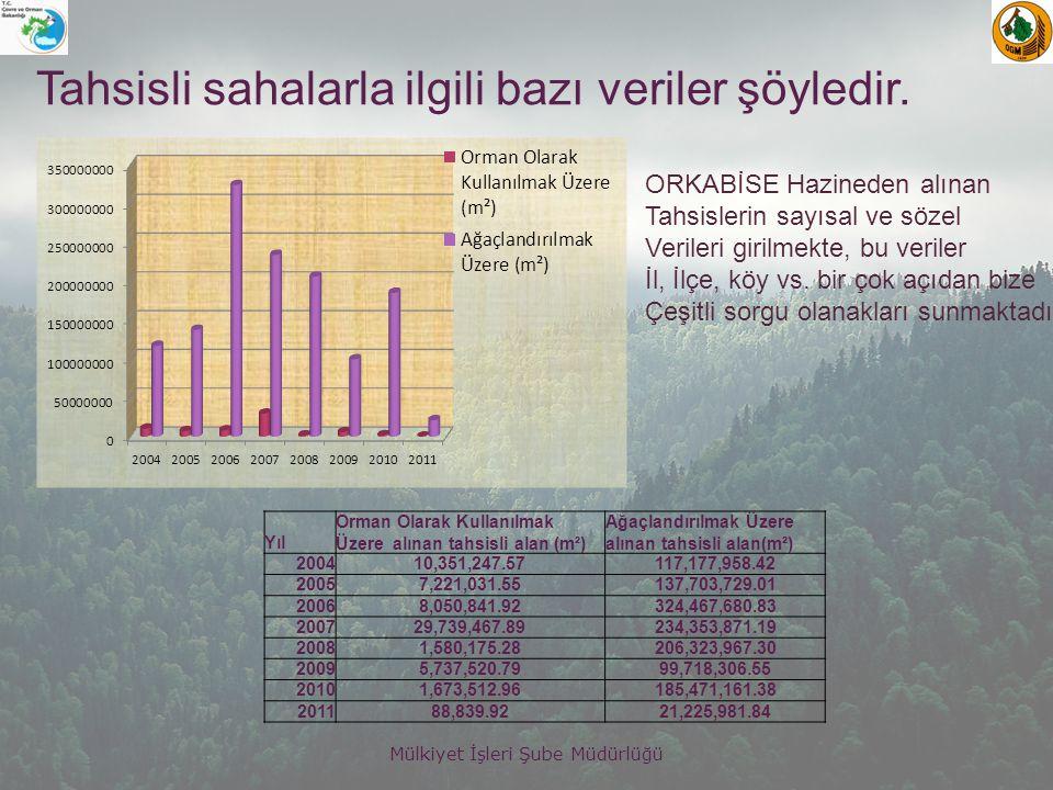 Tahsisli sahalarla ilgili bazı veriler şöyledir.
