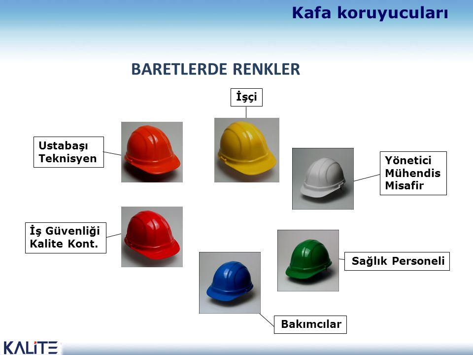 BARETLERDE RENKLER Kafa koruyucuları İşçi Ustabaşı Teknisyen Yönetici