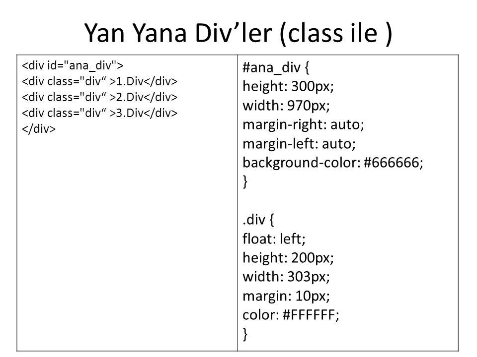 Yan Yana Div'ler (class ile )
