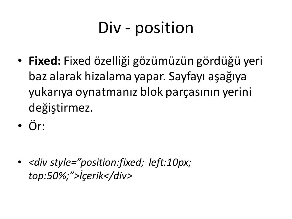 Div - position