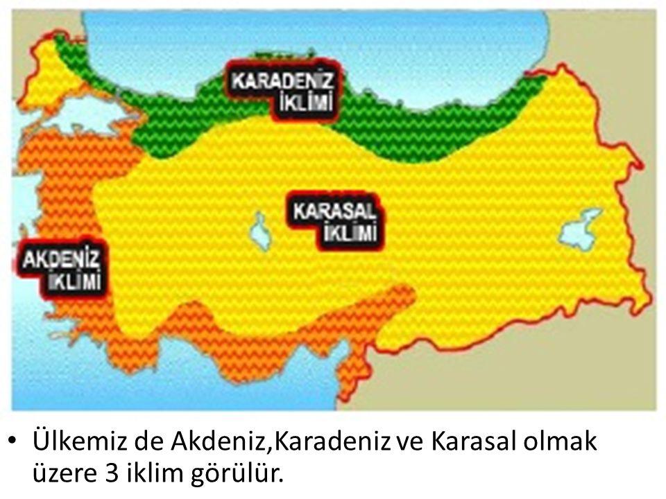 Ülkemiz de Akdeniz,Karadeniz ve Karasal olmak üzere 3 iklim görülür.