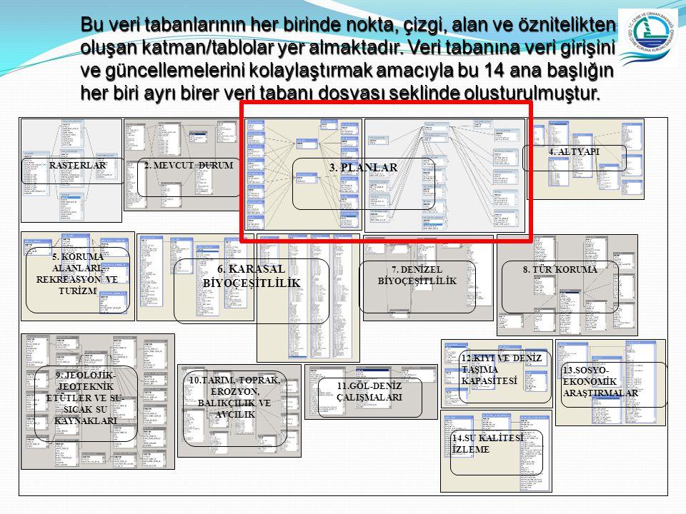 Bu veri tabanlarının her birinde nokta, çizgi, alan ve öznitelikten oluşan katman/tablolar yer almaktadır. Veri tabanına veri girişini ve güncellemelerini kolaylaştırmak amacıyla bu 14 ana başlığın her biri ayrı birer veri tabanı dosyası şeklinde oluşturulmuştur.
