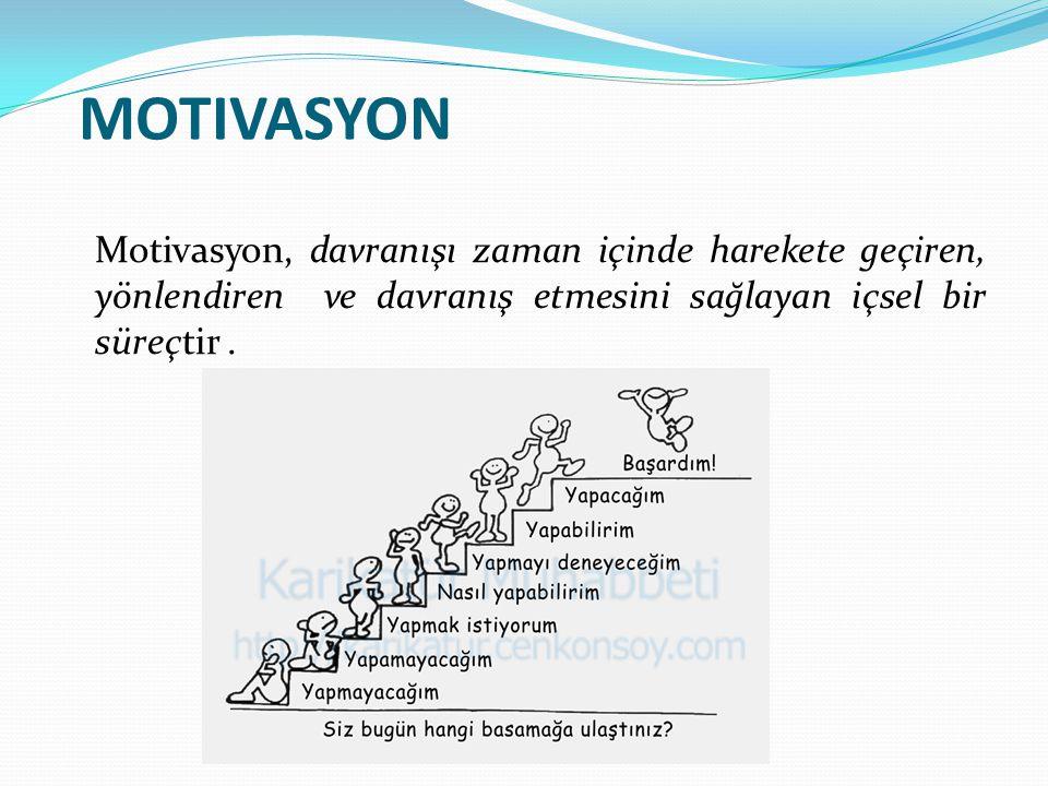 MOTIVASYON Motivasyon, davranışı zaman içinde harekete geçiren, yönlendiren ve davranış etmesini sağlayan içsel bir süreçtir .