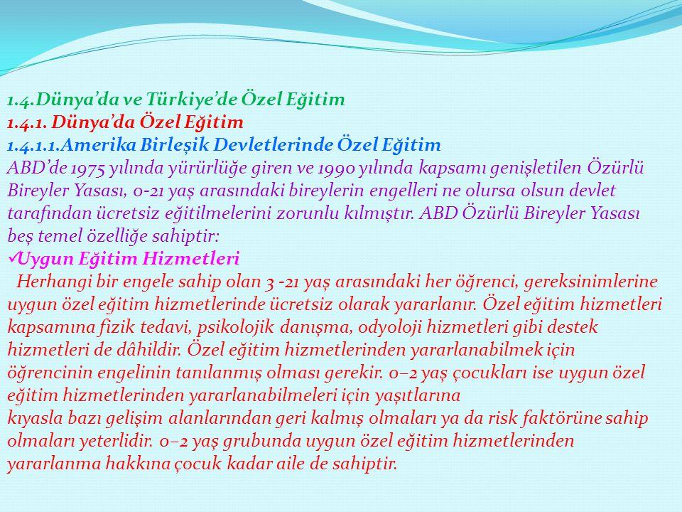 1.4.Dünya'da ve Türkiye'de Özel Eğitim