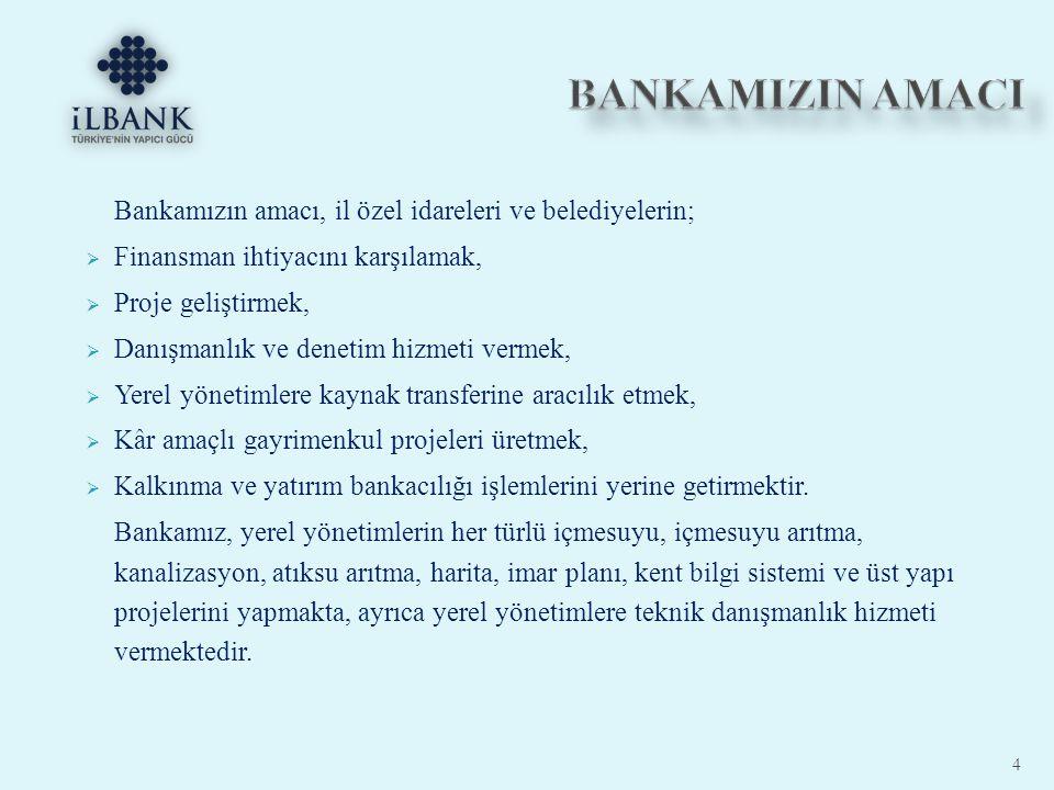 BANKAMIZIN AMACI Bankamızın amacı, il özel idareleri ve belediyelerin;