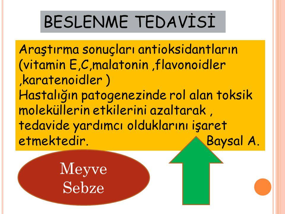 BESLENME TEDAVİSİ Meyve Sebze