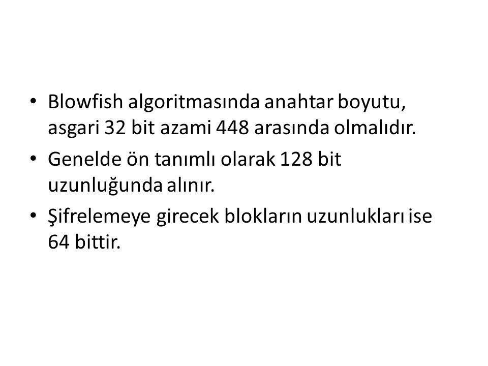 Blowfish algoritmasında anahtar boyutu, asgari 32 bit azami 448 arasında olmalıdır.