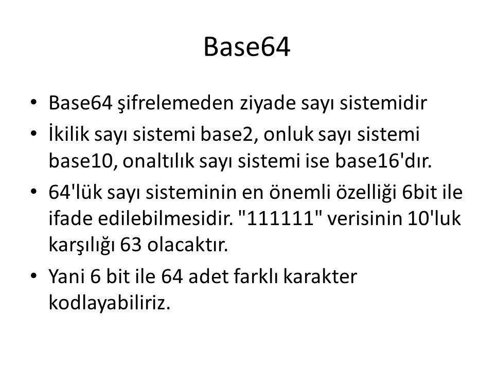 Base64 Base64 şifrelemeden ziyade sayı sistemidir