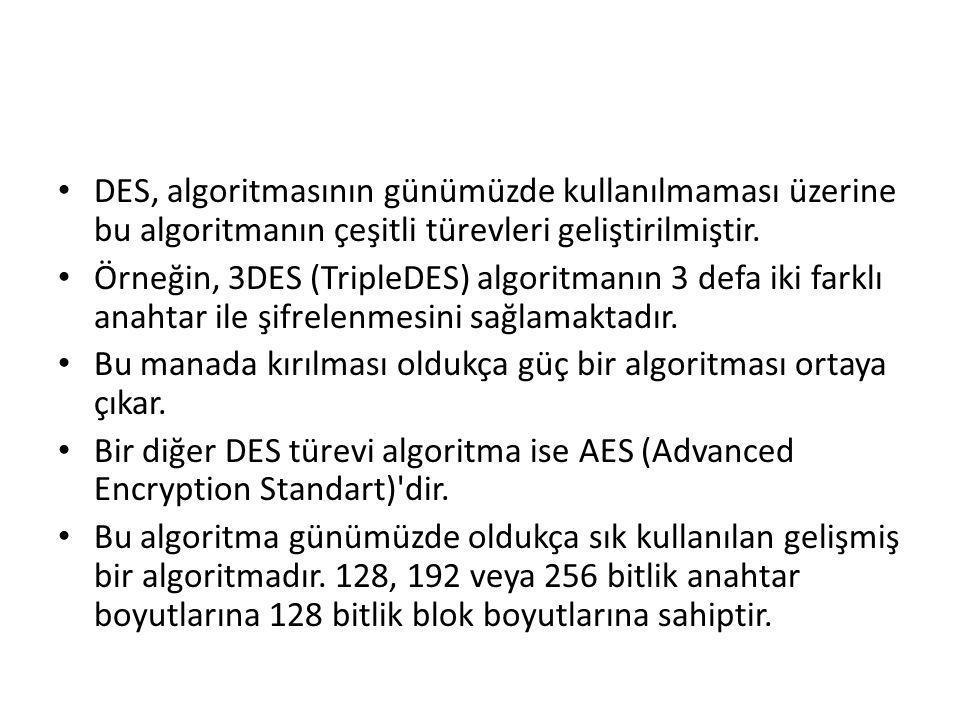 DES, algoritmasının günümüzde kullanılmaması üzerine bu algoritmanın çeşitli türevleri geliştirilmiştir.