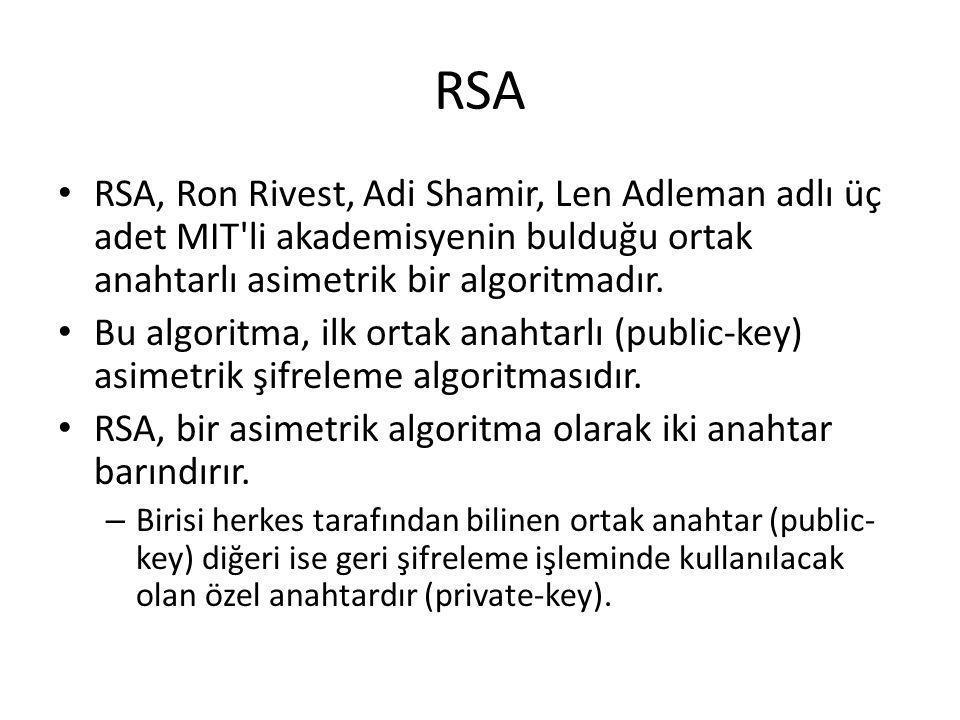 RSA RSA, Ron Rivest, Adi Shamir, Len Adleman adlı üç adet MIT li akademisyenin bulduğu ortak anahtarlı asimetrik bir algoritmadır.