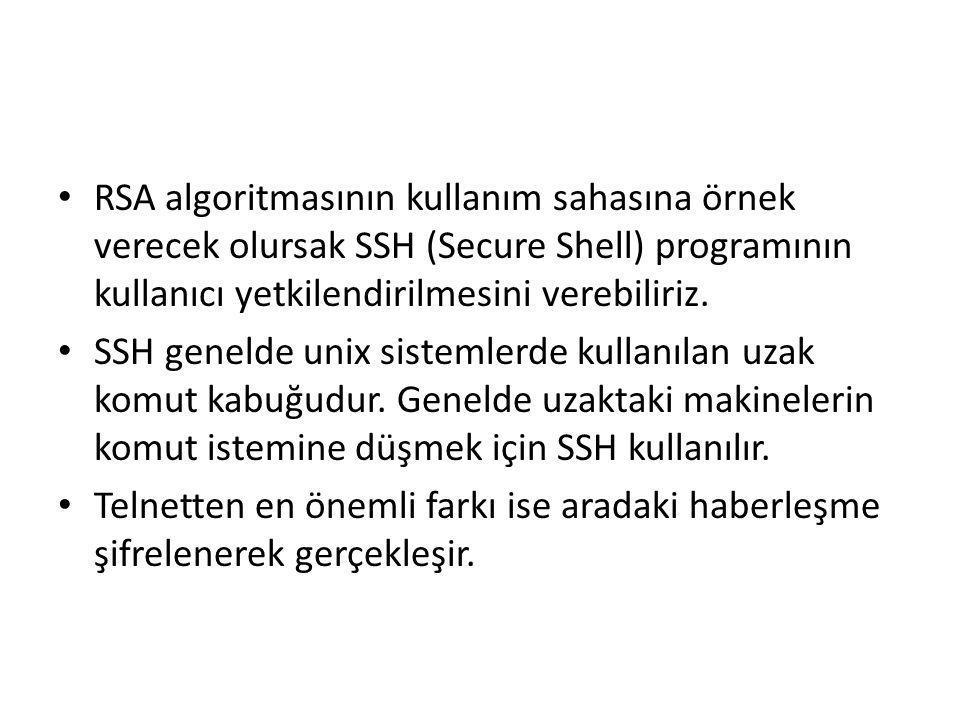 RSA algoritmasının kullanım sahasına örnek verecek olursak SSH (Secure Shell) programının kullanıcı yetkilendirilmesini verebiliriz.