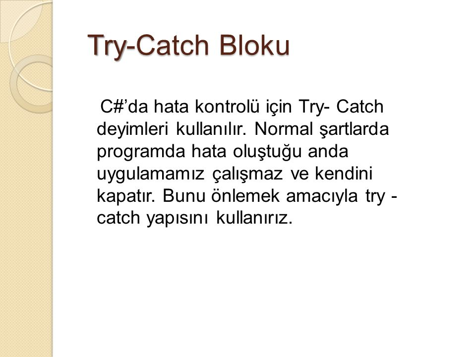 Try-Catch Bloku