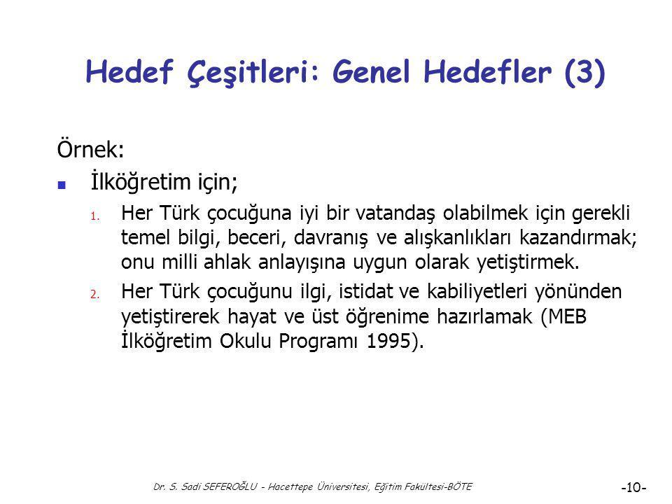 Hedef Çeşitleri: Genel Hedefler (3)