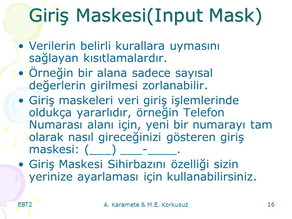 Giriş Maskesi(Input Mask)
