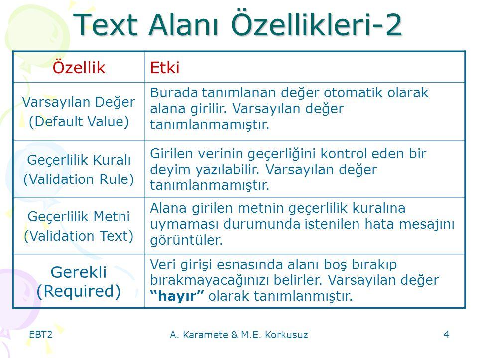 Text Alanı Özellikleri-2