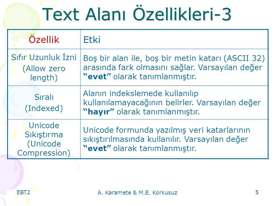 Text Alanı Özellikleri-3