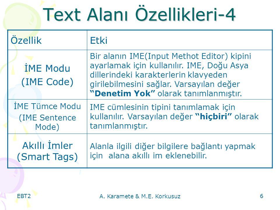 Text Alanı Özellikleri-4