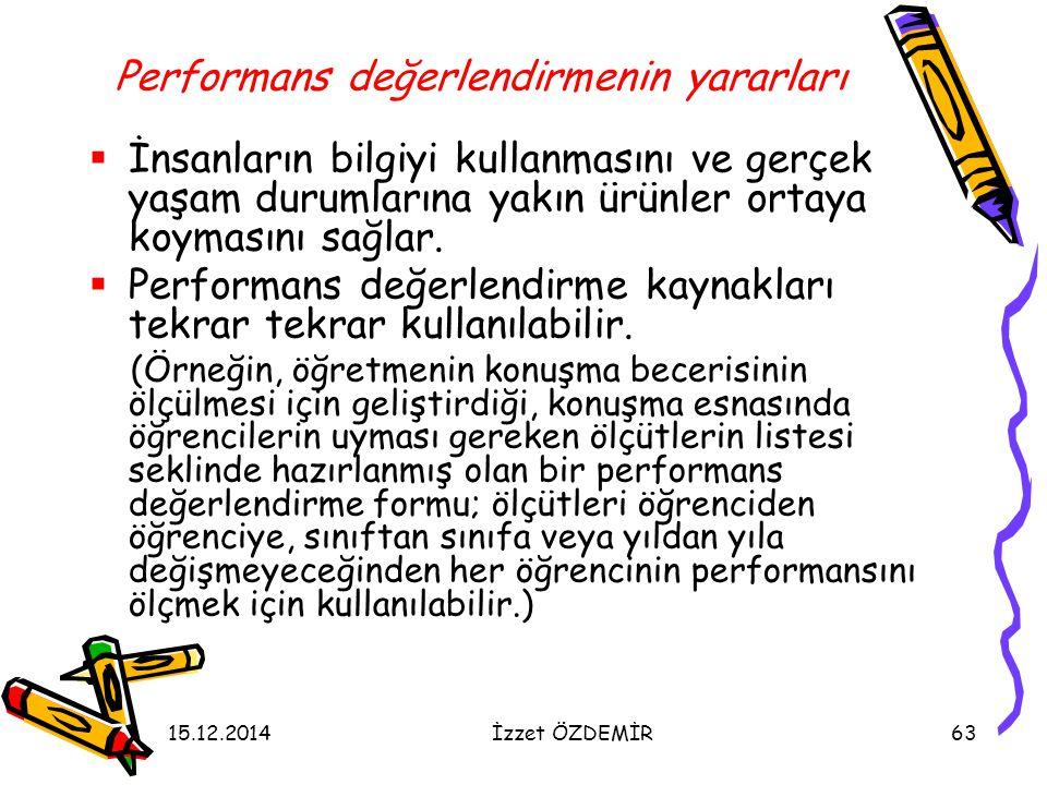 Performans değerlendirmenin yararları