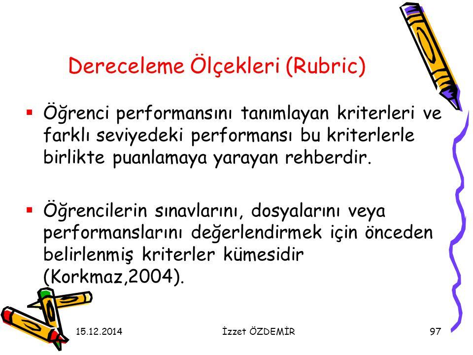 Dereceleme Ölçekleri (Rubric)