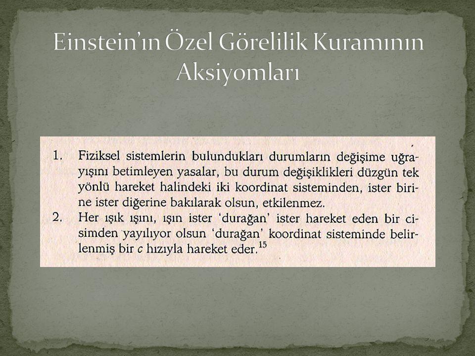 Einstein'ın Özel Görelilik Kuramının Aksiyomları