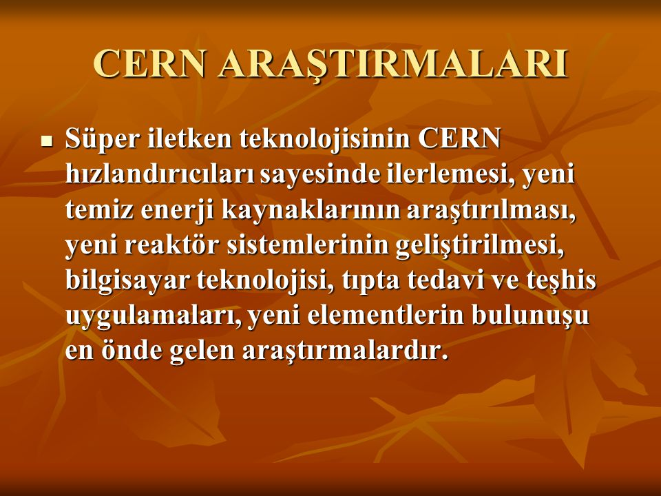 CERN ARAŞTIRMALARI