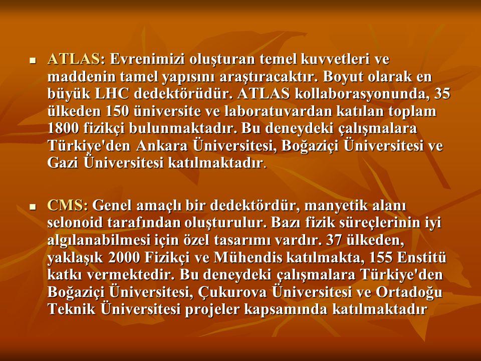 ATLAS: Evrenimizi oluşturan temel kuvvetleri ve maddenin tamel yapısını araştıracaktır. Boyut olarak en büyük LHC dedektörüdür. ATLAS kollaborasyonunda, 35 ülkeden 150 üniversite ve laboratuvardan katılan toplam 1800 fizikçi bulunmaktadır. Bu deneydeki çalışmalara Türkiye den Ankara Üniversitesi, Boğaziçi Üniversitesi ve Gazi Üniversitesi katılmaktadır.